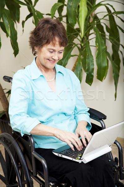 özürlü kadın dizüstü bilgisayar işkadını küçücük netbook'lar Stok fotoğraf © lisafx