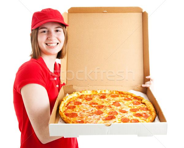 Menina adolescente pizza primeiro trabalho isolado Foto stock © lisafx