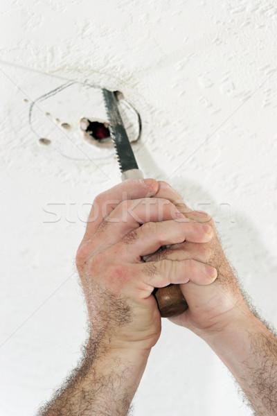 Сток-фото: дыра · потолок · окна · электрик · увидела