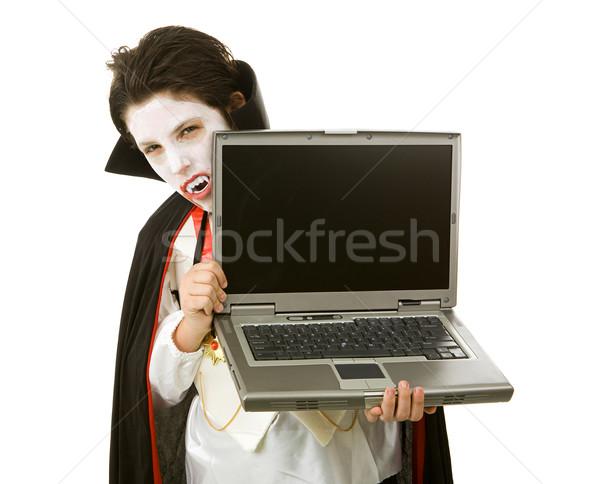 Halloween vampiro laptop bonitinho computador portátil Foto stock © lisafx