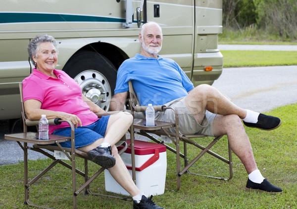Relaxante ao ar livre casal de idosos férias fora Foto stock © lisafx