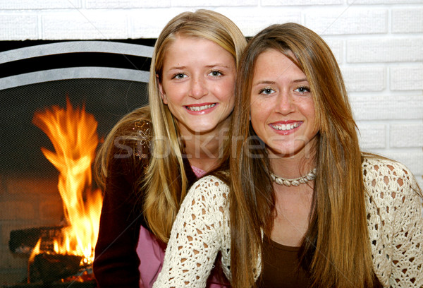 Sisters By The Fireside Stock photo © lisafx
