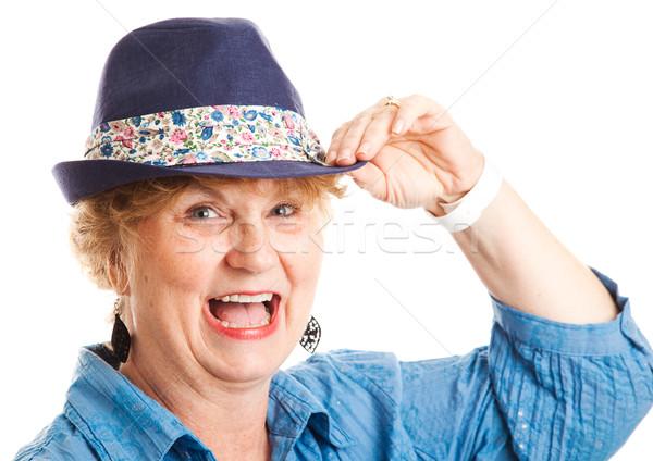 Vrouw gelukkig lachend portret Stockfoto © lisafx