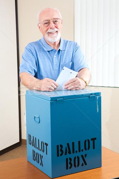Senior Man with Ballot Box Stock photo © lisafx