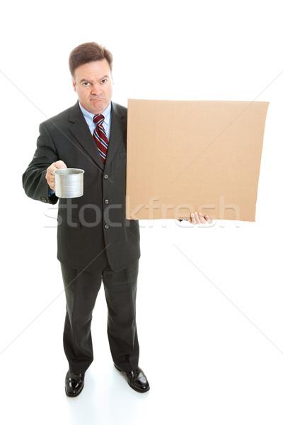 Foto stock: Empresário · desempregado · cartão · assinar · estanho · copo