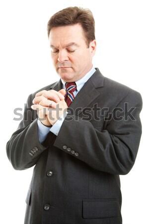 бизнесмен молитвы министр рук сложенный изолированный Сток-фото © lisafx