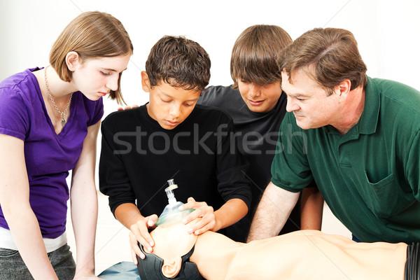 Oktatás oxigénmaszk mesterséges lélegeztetés tini diákok tanár Stock fotó © lisafx