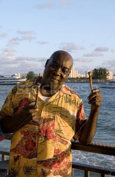 Карибы стали барабанщик позируют музыку острове Сток-фото © lisafx