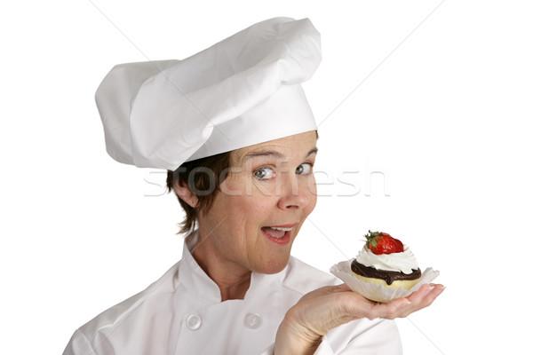 Chef With Strawberry Tart Stock photo © lisafx