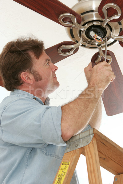 Electrician Installing Ceiling Fan Stock photo © lisafx