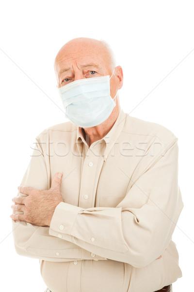 Járvány idős férfi aggódó visel sebészi Stock fotó © lisafx