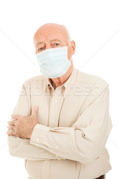 Epidemie senior man bezorgd chirurgisch Stockfoto © lisafx
