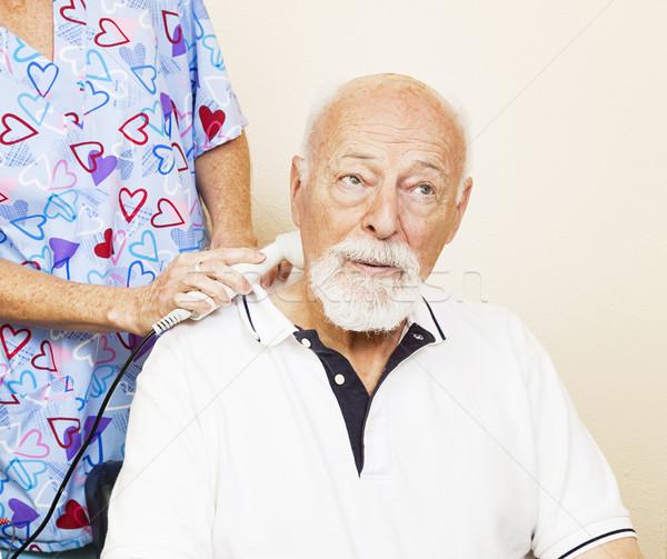 Ultradźwięk ból ulga starszy człowiek kręgarz Zdjęcia stock © lisafx