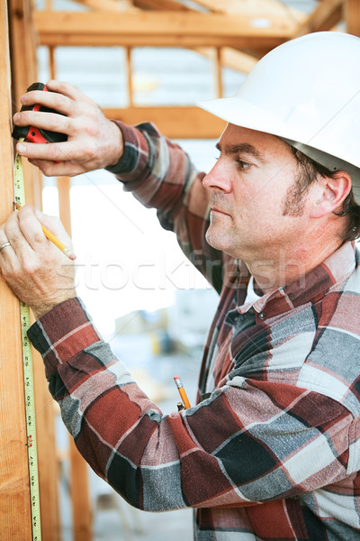 építőmunkás mérés elvesz állás helyszín épület Stock fotó © lisafx