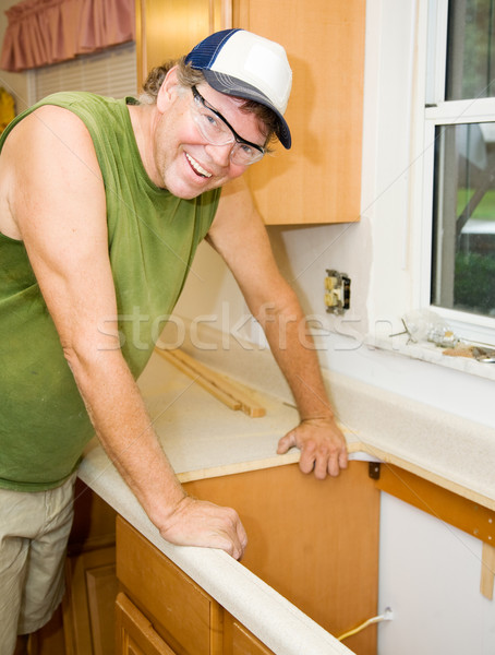 Stock photo: Contractor Remodels Kitchen