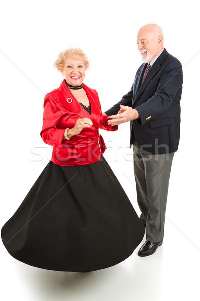Tánc idősek pörgés gyönyörű idős hölgy Stock fotó © lisafx