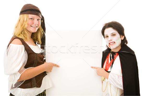Gyerekek felirat imádnivaló fivér lánytestvér halloween Stock fotó © lisafx