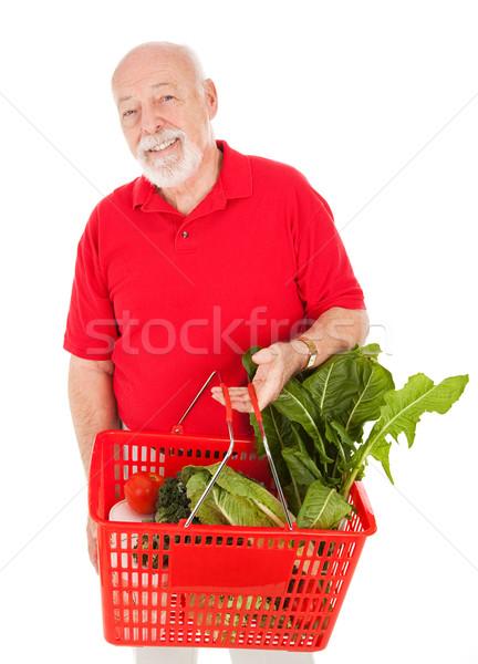 Handsome Senior Grocery Shopper Stock photo © lisafx
