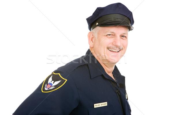 Oficial amistoso oficial de policía aislado blanco cara Foto stock © lisafx