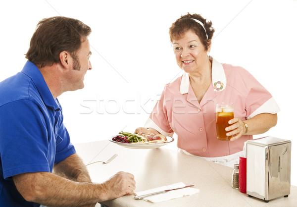 Waitress Serves Turkey Dinner Stock photo © lisafx