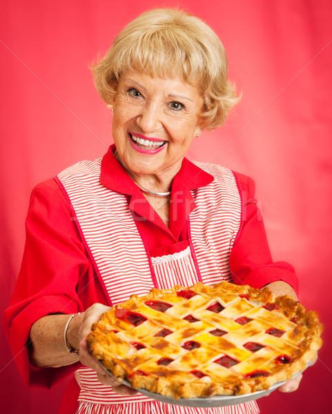 Eigengemaakt cherry pie zoete grootmoeder vintage schort Stockfoto © lisafx