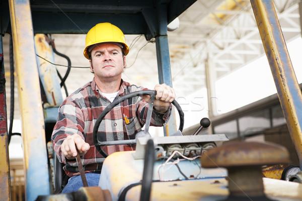 Nehézgépek sofőr munkás vezetés nehéz építkezés Stock fotó © lisafx