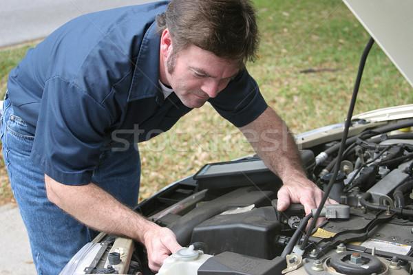 Auto Mechanic Checks Engine Stock photo © lisafx