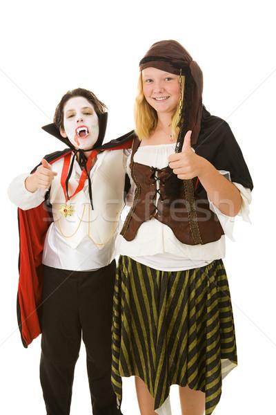 Halloween gyerekek remek fivér lánytestvér jelmezek Stock fotó © lisafx