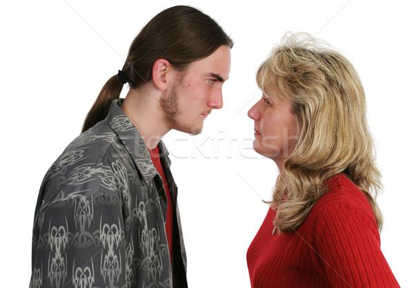 Mère fils confrontation Teen yeux garçon Photo stock © lisafx