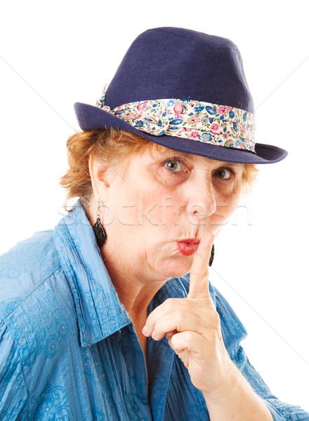 Foto stock: Mujer · silencio · dedo · labios · gesto