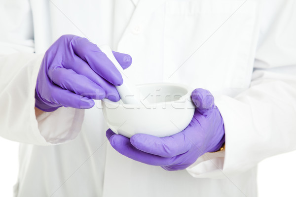 Pharmacist or Scientist with Mortar and Pestle Stock photo © lisafx