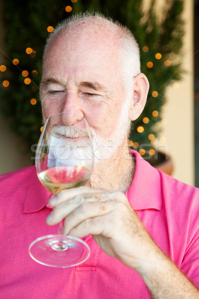 Stok fotoğraf şarap tadımı kıdemli adam Stok fotoğraf © lisafx