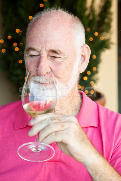 Stock Photo of Wine Tasting - Senior Man Stock photo © lisafx