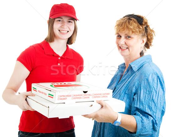 Fresh Hot Pizza Delivered Stock photo © lisafx