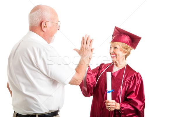 Pareja de ancianos graduación máximo de cinco altos mujer escuela secundaria Foto stock © lisafx