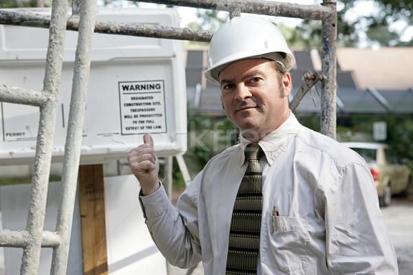 здании предупреждение Постоянный строительные леса указывая из Сток-фото © lisafx