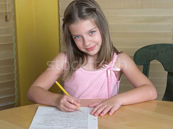 Kind Hausaufgaben kleines Mädchen Kinder Kinder Augen Stock foto © lisafx