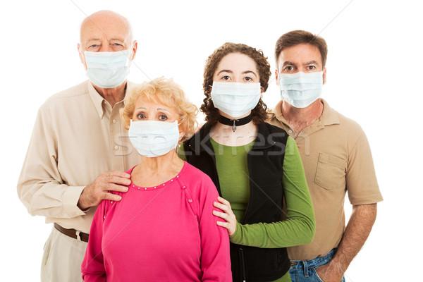 Karşı salgın aile yaşlı ebeveyn yetişkin Stok fotoğraf © lisafx