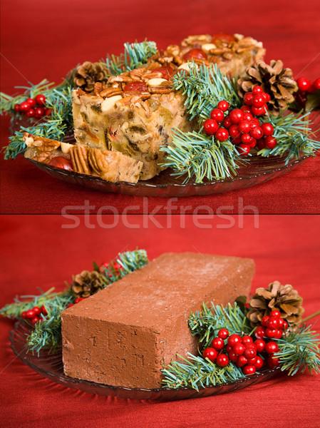 Gyümölcstorta tégla humoros összehasonlítás karácsony mindkettő Stock fotó © lisafx