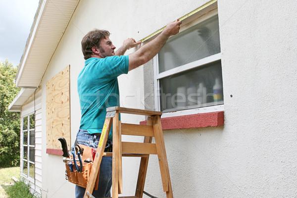 Foto stock: Windows · homem · furacão