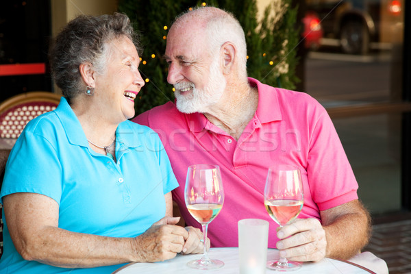 Senior Couple - Wine and Romance Stock photo © lisafx