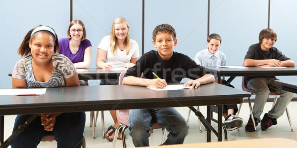 Okul çocuklar çeşitlilik afiş grup Stok fotoğraf © lisafx
