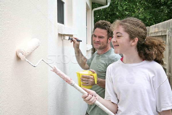 Father Daughter Paint Horizontal Stock photo © lisafx