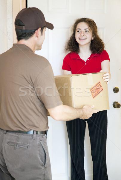 пакет домой женщину улыбка Сток-фото © lisafx