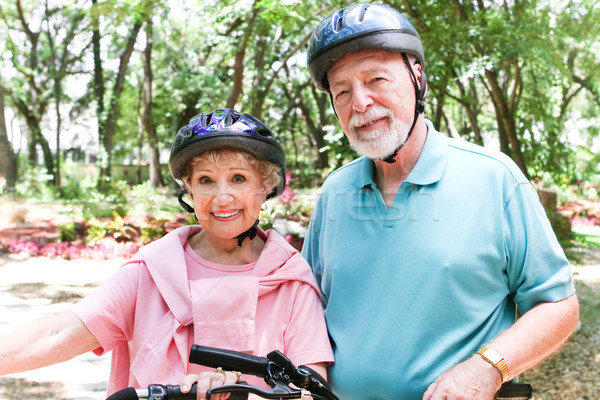 Fit Seniors Ride Bicycles Stock photo © lisafx