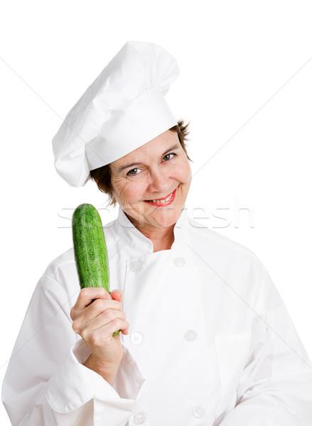 Chef Holding Zucchini Stock photo © lisafx