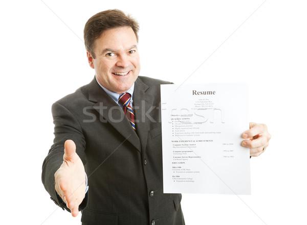 Baan aanvrager zakenman klaar glimlach Stockfoto © lisafx