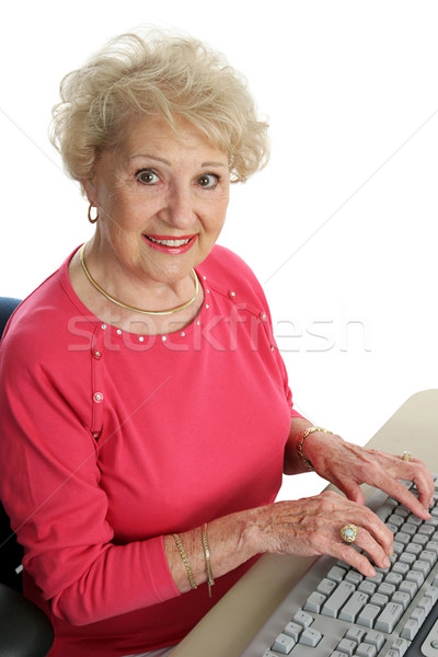 Beautiful Senior at Computer Stock photo © lisafx