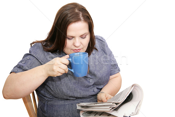 Businesswoman - Coffee & Newspaper Stock photo © lisafx