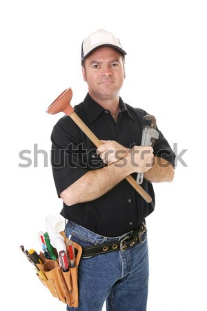 компетентный мастер на все руки инструменты изолированный белый человека Сток-фото © lisafx